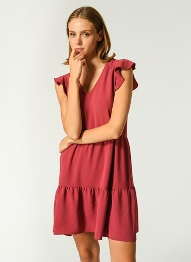 NGSTYLE Kadın Kol Volan Detaylı Elbise NGSS21EL0061 Mürdüm